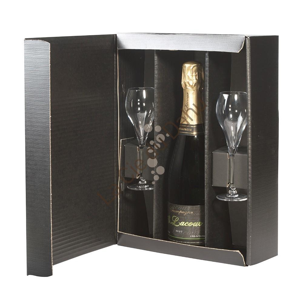 Coffret 2 coupes 9.5 cl et 1 bouteille Champagne Brut